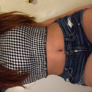 37c7a7575b75c4 Urban Outfitters Tops - Black   White Checkered Smocked Ruffle Crop top